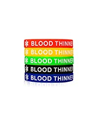LF 5Pcs Mens Womens Colorful Silicone Medical Alert Bracelets,Rubber Blood Thinner Medical ID Cuff Bracelet Wristband Sos Emergency Health Alert,Pack of 5,Red Yellow Green Black Blue