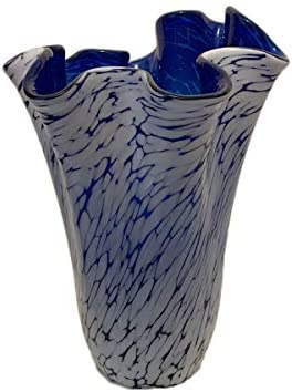Art DecoGlass Glass Vase Poland Unique Handmade Glass Vase – Cobalt Blue White Decor – Mouth Blown Lead Free Glass – Decorative Art Ruffle Vase Centerpiece – 10 inch