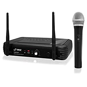 Pyle UHF Wireless Microphone System - Professional Dynamic Wireless Mic Set, handheld mic and receiver, power adapter, Audio Cable - Great for PA, Conference, Karaoke, and Dj Party