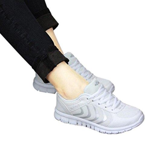 Tefamore Zapatillas de deporte Zapatos deportivos de los planos atléticas ocasionales de la malla respirable del verano de las mujeres Blanco