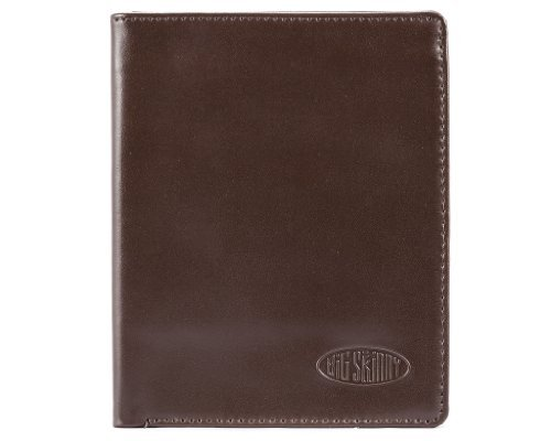 Big Skinny Men's Hipster Leather Bi-Fold Slim Wallet, Holds Up to 40 Cards, Brown - Leather Hipster