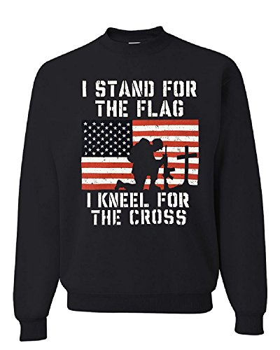 - Lucky Ride I Stand For The Flag I Kneel For The Cross Military Sweatshirt, Black,M