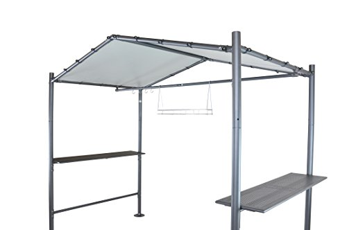 SORARA Grill Gazebo 9 x 5 Outdoor Backyard BBQ Soft Top Gazebo with Steel Canopy, Grey