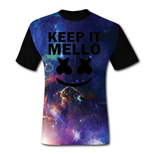 LOGvvl Funny Mens T Shirt Keep It Mello Marsh-Mell-o Face Fashion Play Gaming Style Casual Tees S Black ()