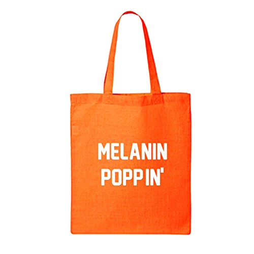 MELANIN POPPIN' Cotton Canvas Tote Bag in Orange - One Size by ZeroGravitee (Image #1)
