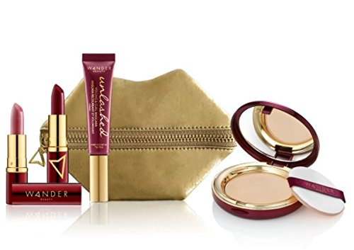 Wander Beauty Jetsetter Makeup Essentials Kit! Kit Includes A Wanderlust Powder Foundation, Wanderout Dual Lipstick, And Unlashed Volume and Curl Mascara! Set Comes In A Mini Pucker Up Pouch! (Light) by Wander Beauty (Image #1)