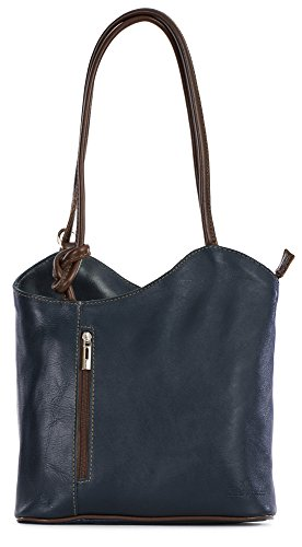 LiaTalia Womens Soft Lush Italian Leather Piping Detail Shoulder or Backpack Bag with Protective Storage Bag - Libby (Navy Brown) by LiaTalia Vera Pelle Made In Italy