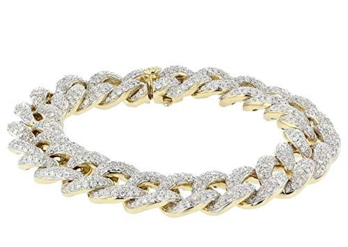 Midwest Jewellery Diamond Bracelet Cuban Miami Link 14K Gold 7.68ctw Round Pave Set Diamonds 12mm 7 Inch