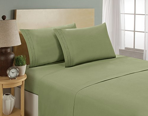 1800 Series Egyptian Collection 3 Line Microfiber 4 Piece Bed Sheet Set (Queen, Sage) (Green And Cream Bedding Set)