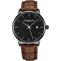 [Patrocinado] stuhrling original reloj para hombre correa de piel de becerro–Vestido + diseño Casual–Dial de reloj analógico con fecha, 3997z relojes para hombre colección, negro marrón