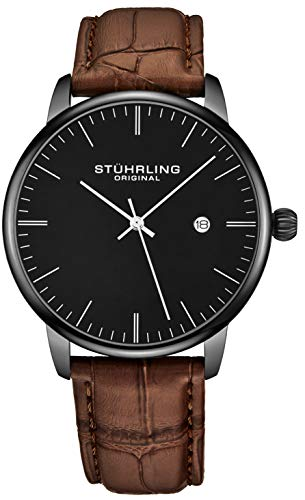 Dial Dress Brown (Stuhrling Original Mens Watch Calfskin Leather Strap - Dress + Casual Design - Analog Watch Dial with Date, 3997Z Watches for Men Collection (Black Brown))