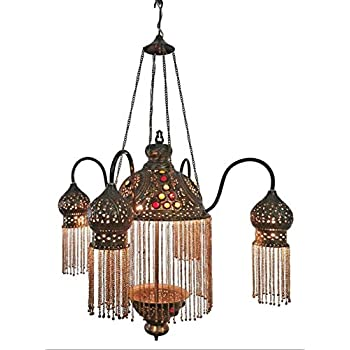 BR264 4 Shades Moroccan Jeweled Pendant Light/Lamp Chandelier