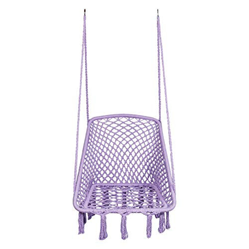 "LAZZO Square Hammock Chair Hanging Knitted Mesh Cotton Rope Macrame Swing, 260 Pounds Capacity, 28"" 22.8"" Seat Width,for Bedroom, Outdoors, Garden, Patio, Yard. Child, Girl, Adult (Purple)"