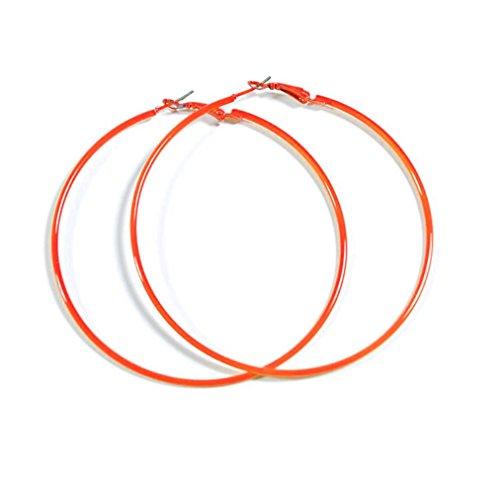 NEON ORANGE Hoop Earrings 50mm Circle Size - Bright Flourescent, Vibrant Colors ()