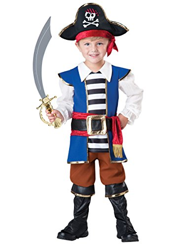 [InCharacter Baby Boy's Pirate Boy Costume, Blue/Red, 4T] (Toddler Boys Pirate Costumes)
