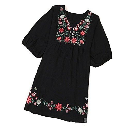 傾向がありますロシア引退するKAI レディースファッション 森ガールワンピ UVカット 5分袖丈ワンピース 花柄 刺繍 大きいサイズ