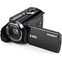 incoSKY WiFi Video Camera Camcorder HD 1920x1080P 30FTPS FHD 16X Digital Portable Zoom IR Camera 3 TFT LCD Touchscreen with Night Vision and Remote Control Black