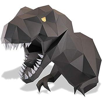 Amazon com: Paperraz 3D Wolf Head Animal Building Trophy Puzzle Low