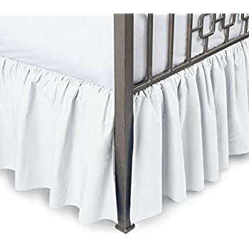 Sleepwell White Solid, King Size Ruffled Bed Skirt 15 inch Drop Split Corner,100 Percent Pure Egyptian Cotton 400 Thread Count, Wrinkle & Fade Resistant