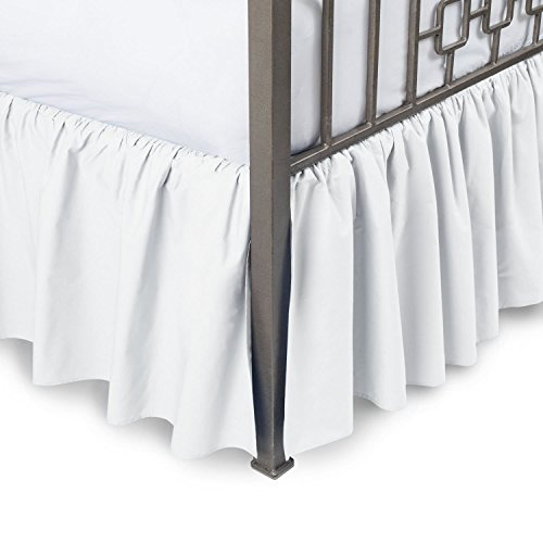 - Sleepwell White Solid, Full-XL Size Ruffled Bed Skirt 21 inch Drop Split Corner,100 Percent Pure Egyptian Cotton 400 Thread Count, Wrinkle & Fade Resistant