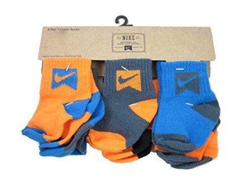 Nike Infant Socks (Nike Infant Baby Boy's Socks Orange/Black/Gray 6 Pairs, Size 6-12 Months)