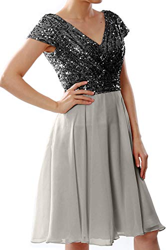 Wedding Sequin Black Dress Bridesmaid Formal Party Cap Short Women Gown Macloth Sleeve silver R0t1f