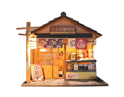 Cool Beans Boutique Miniature DIY Dollhouse Kit Wooden Japanese Grocery Store with Dust Cover - Architecture Model kit (English Manual) - Grocery Store D035Z -