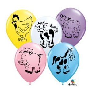 Farm Animal Barnyard Pig Cow Sheep Horse Birthday Party 11' Balloon Latex (25) - Barnyard Birthday Themes