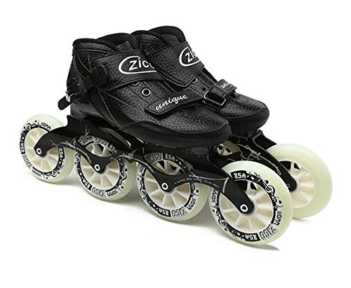 Indoor Track Speed Racing Long Street Trace Asphalt Road Inline Speed Skates Shoes Carbon Fiber Adults Kids Sport Roller Patines Black EU40