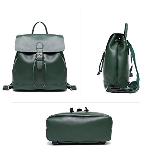 Large College Leather Large Girls Casual Leather Brown Shoulder Ladies for Green Women Back Big Drawstring Genuine Purse Backpack Travel Fashion Bag Daypack Real School Rqv4qwB5