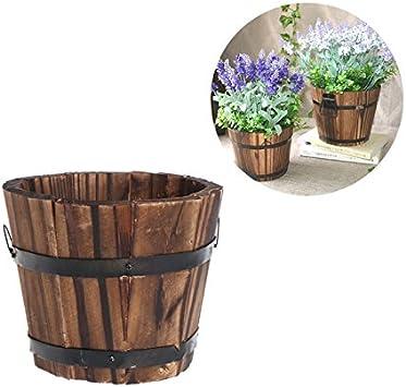 Vstylife Wooden Flower Pots Planter Wood Succulent Pots Barrel for Home Outdoor Balcony Decor Vintage Garden Flower Planter Succulent Pot Rectangle Trough Box Plant Bed Brown