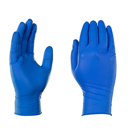 AMMEX Heavy Duty Blue Nitrile 6 Mil Disposable Gloves - Diamond Texture, Industrial, Powder Free, Large, Box of 100
