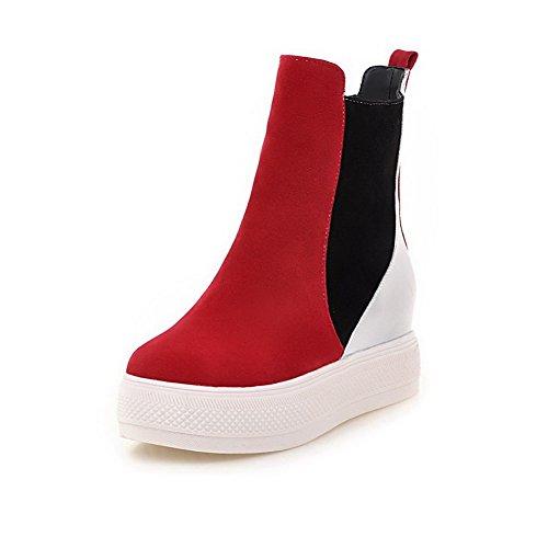 AllhqFashion Damen Niedriger Absatz Gemischte Farbe Mattglasbirne Ziehen auf Stiefel, Rot, 42