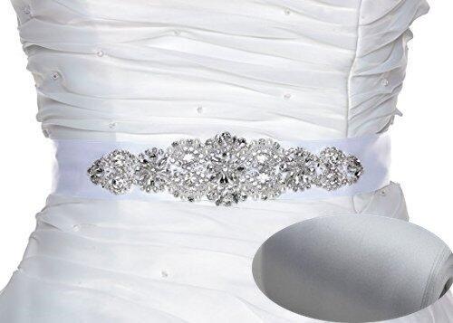 QueenDream silver rhinestone belt rhinestone belts for kids crystal sash diamond bridal sash