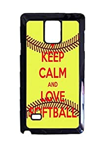 KEEP CALM AND LOVE SOFTBALL Custom Image Case, Diy Durable Hard Case Cover for Samsung Galaxy Note 4 , High Quality Plastic Case By Argelis-Sky, Black Case New