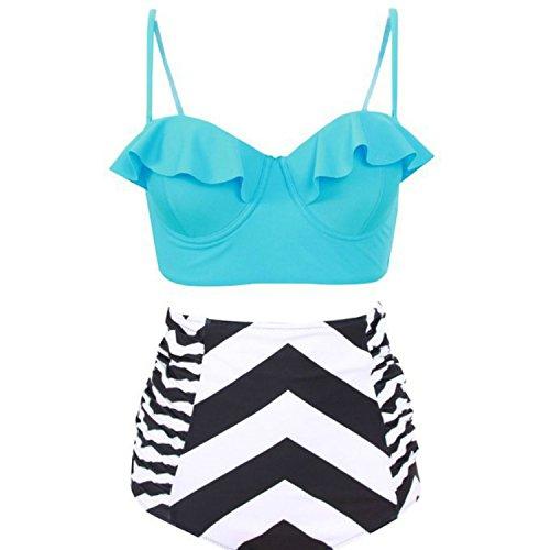 c048956580f Plus Size Bikini Set High Waist Swimsuit Printing Swimwear Woman Ruffle  Bikinis Sexy Push up Beachwear Female Bathing Suit