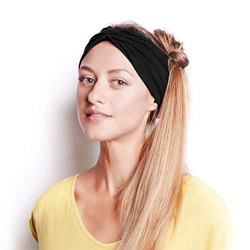 (UROSA Women Cotton Knotted Turban Head Warp Hair Band Wide Elastic Headband Sport Yoga)