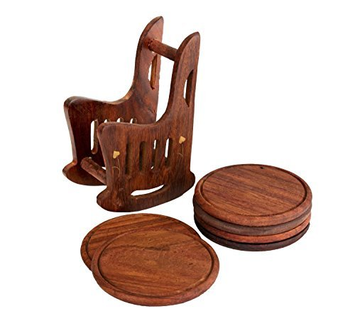 Store Indya Wooden Bar Coaster Tea Coffee Mug Tabletop Barware Drink Set of 4 Handmade Rocking Chair Shaped Holder with Brass Inlay Dining Accessories