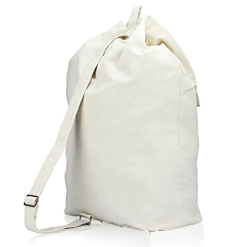 HBlife Laundry Bag Backpack Spacious Drawstring Cotton Canvas with Strong Adjustable Shoulder Straps Washing Storage Organizer Travel Bag by HBlife (Image #2)