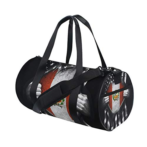 Sports Gym Bag with Peruvian American Usa Flag Print, Travel Weekender Duffle Bag for Men Women