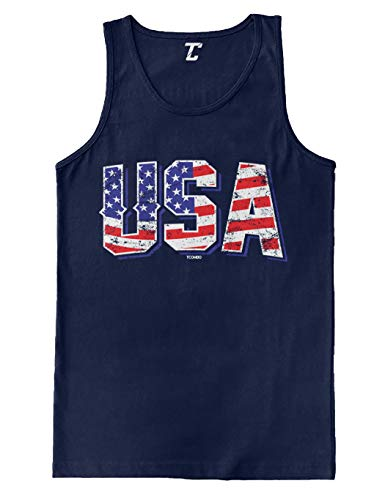 USA - Retro American Flag Stars & Stripes Men's Tank Top (Navy, Large)