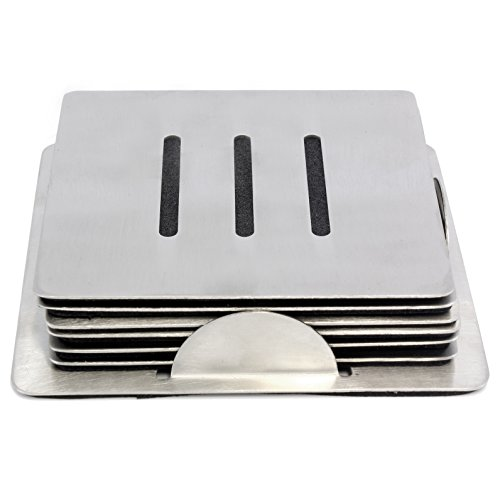 Square Stainless Coasters Holder Backing product image