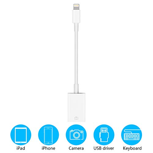 USB Camera Adapter for iPad iPhone, HENKUR OTG Cable Compatible with iPhone X Max 8 7 6 6S Plus iPad Mini, USB 2.0 for USB Flash Drive, Keyboard File Photo Video Sync, Support iOS 9.2 to 13 (White)