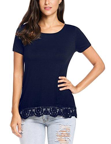 SummerRio Women Scoop Neck Casual Cotton T Shirt Tunic Top Tee Navy Blue (Lace Trim Scoop Neck Tee)