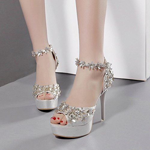 L@YC Women'S High Heels Fine With Waterproof Taiwan Hate Days High Flower Word With a Dance Cool White ByUEX8