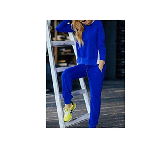 uit,Women Clothing 2 Piece Set Tops+Pants Sporting Suit Female,Blue,M ()