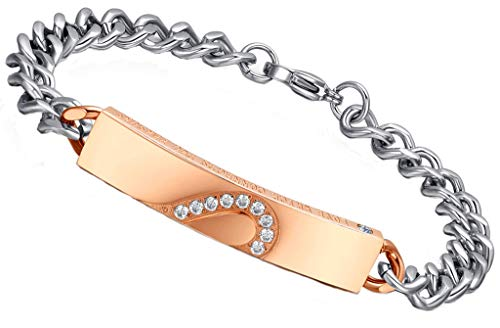 AMDXD Jewelry Stainless Steel Chain Bracelet for Women CZ Heart Design Rose Gold Link Wrist Polish 17CM