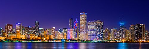 Posterazzi Skyline with Cubs World Series Lights Night Lake Michigan Chicago Cook County Illinois USA Poster Print by Panoramic Images, (36 x 12), Varies from Posterazzi