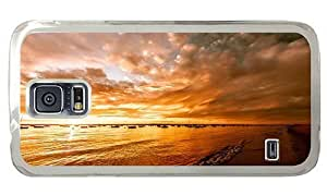 Hipster retro Samsung Galaxy S5 Cases beach sunset ships PC Transparent for Samsung S5