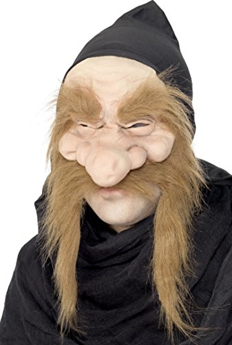 Half Man Half Woman Costume (Smiffy's Unisex Troll Mask, Half Face with Hood, One Size, Gold Digger Mask, 23817)